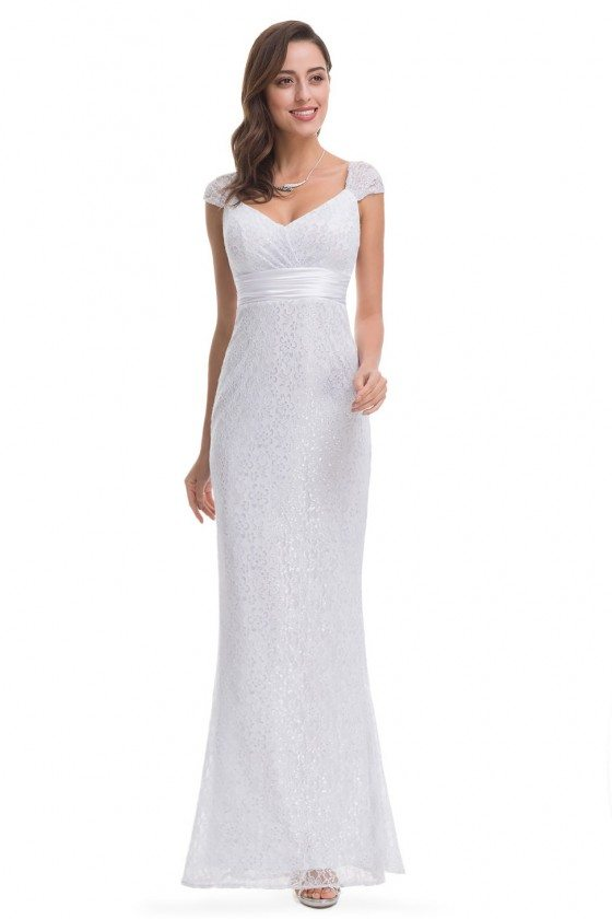 White Lace Cap Sleeve Long Mermaid Evening Party Dress
