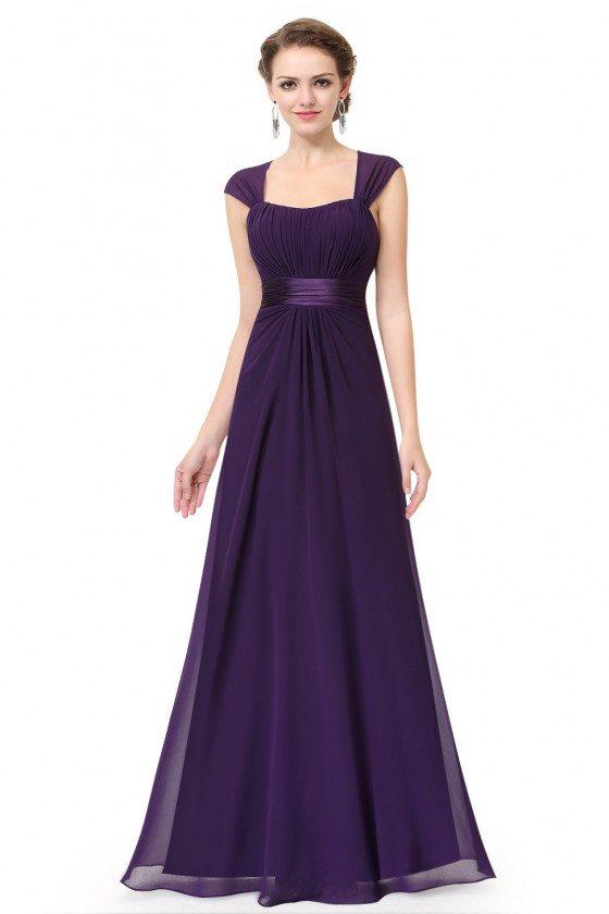 Dark Purple Chiffon Square Neck Long Bridesmaid Dress