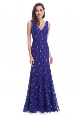 Royal Blue Lace V-neck Long...