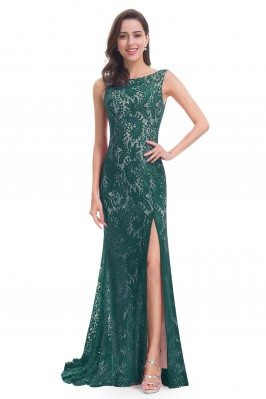 Dark Green Full Lace Slit...