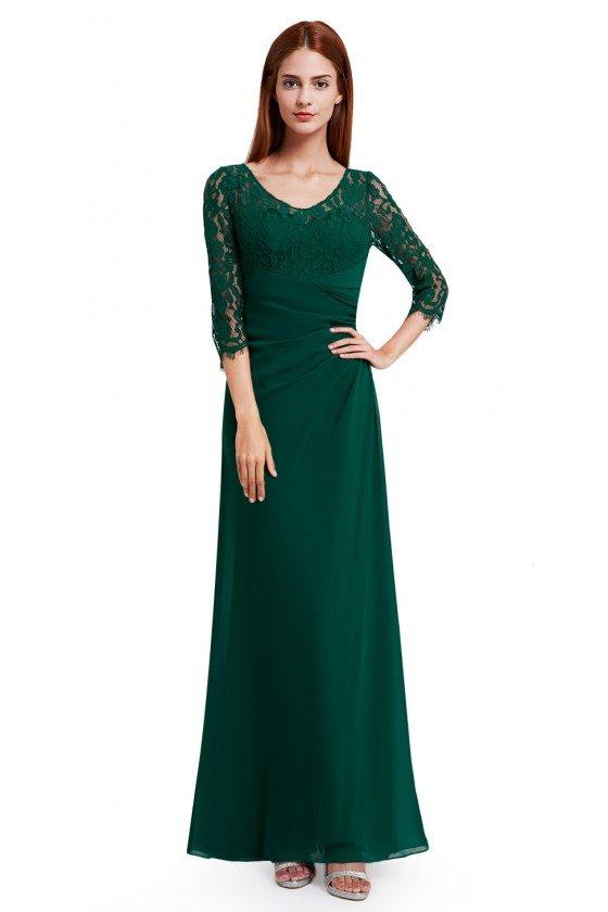 Dark Green Lace 3/4 Sleeve Long Evening Dress
