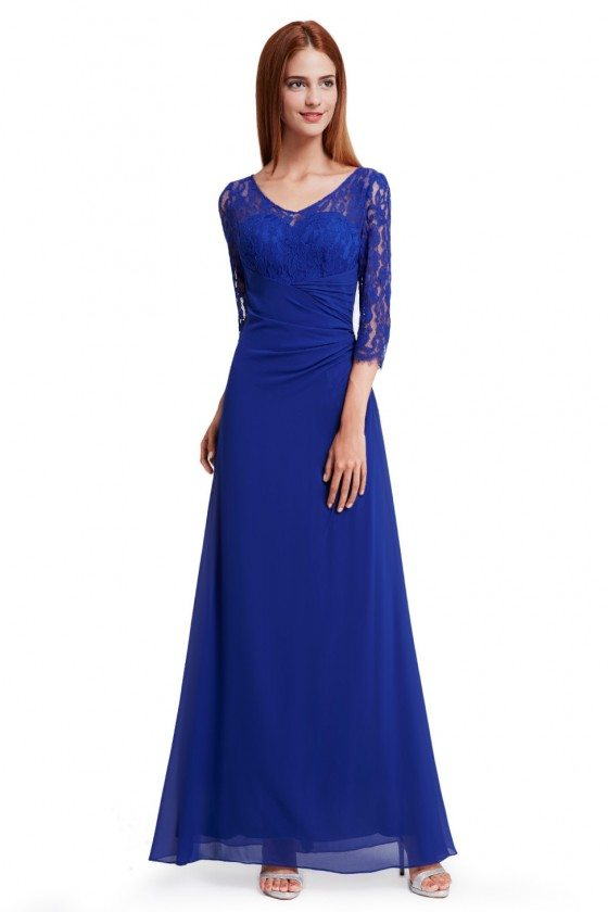 Royal Blue Lace 3/4 Sleeve Long Evening Dress - EP08861SB