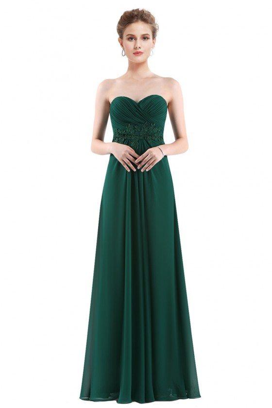 Dark Green Chiffon Strapless Long Evening Party Dress - EP08864DG