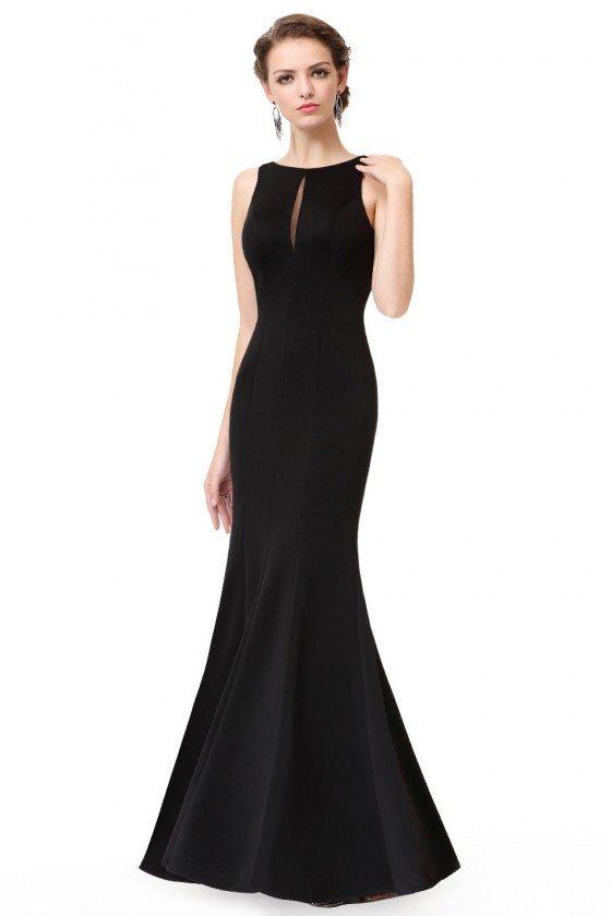 Simple Black Sleeveless Long Mermaid Evening Dress - EP08866BK