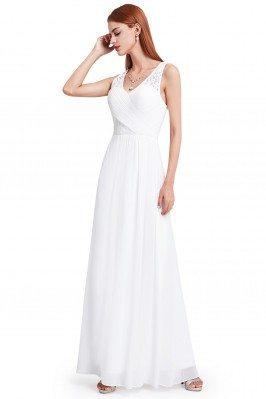 Women's White V-Neck Long Chiffon Evening Party Dress - EP08871WH