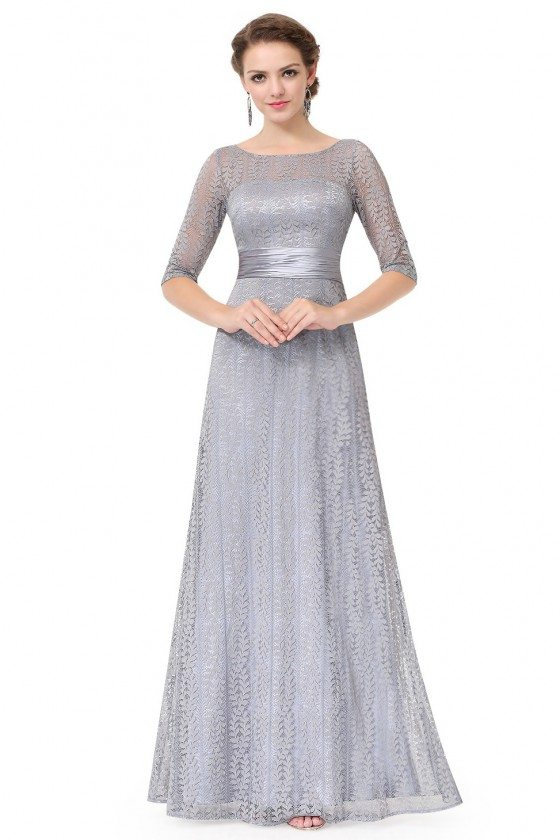 Grey Lace Half Sleeve Long Prom Party Dress