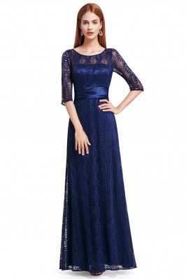 Navy Blue Lace Half Sleeve...