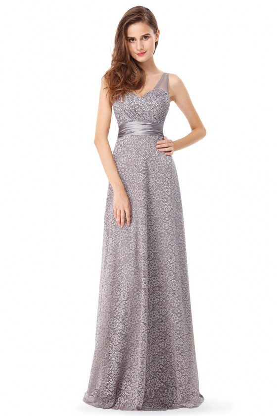 Grey Lace Sleeveless Long Evening Party Dress