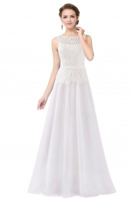 White Sleeveless Lace Long...