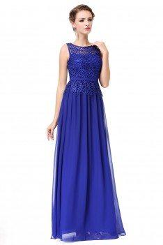 Royal Blue Sleeveless Lace Long Party Dress - EP08904SB