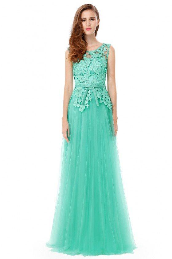 Aqua Lace Tulle Round Neck Sleeveless Long Prom Dress - EP08915AQ