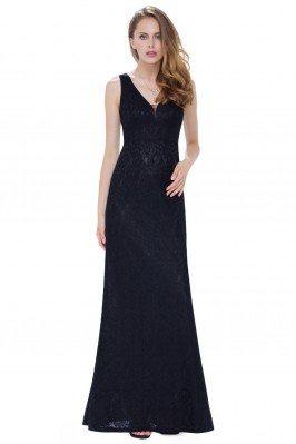 Women's Black Lace V-Neck...
