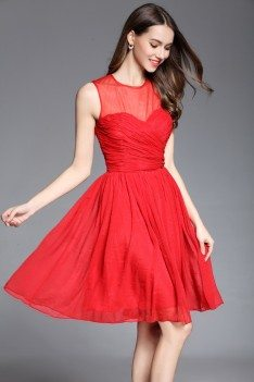 Little Red Sheer Neckline Short Dress