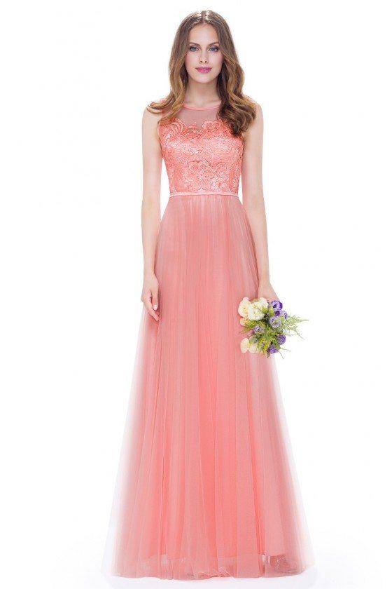 Peach Round Neck Sleeveless Long Party Dress