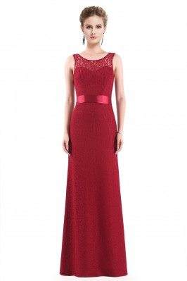 Red Sleeveless Lace Long...