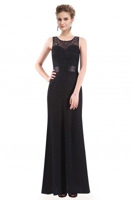 Black Sleeveless Lace Long...