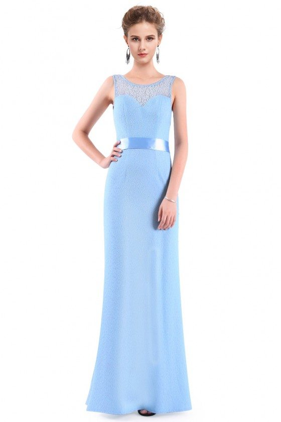 Blue Sleeveless Lace Long Evening Party Dress