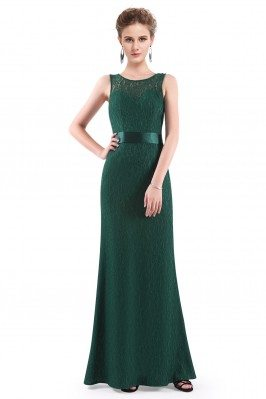 Dark Green Sleeveless Lace...