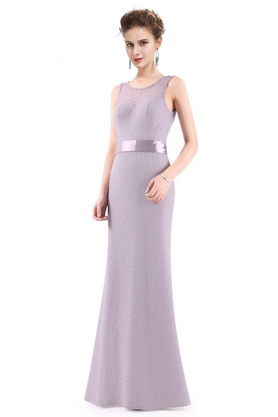 Grey Sleeveless Lace Long Evening Party Dress
