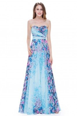 Blue Floral Strapless Long...