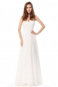 White Elegant Lace Spaghetti Strap Long Evening Prom Dress - EP08971CR