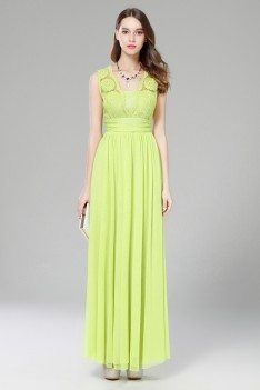 Green Lace Open Back Long Formal Gown