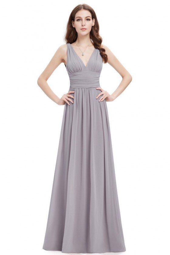 Simple Grey Double V-Neck Chiffon Evening Dress