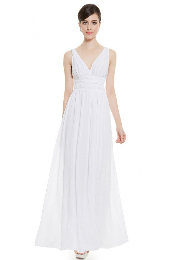 Simple White Double V-Neck Chiffon Evening Dress
