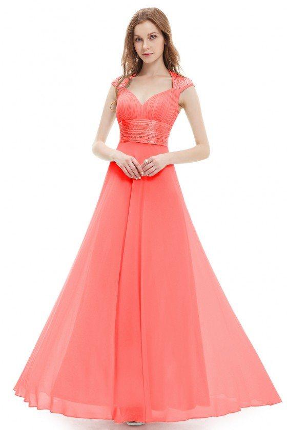 Coral V-neck Sequins Chiffon Ruffles Empire Line Evening Dress