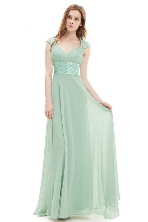 Mint Green V-neck Sequins Chiffon Ruffles Empire Line Evening Dress