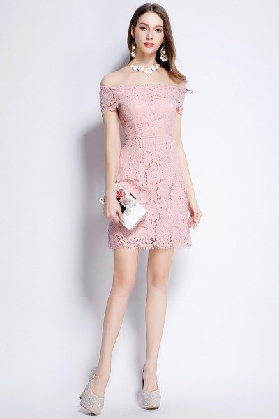 Pink Lace Off Shoulder Party Dress