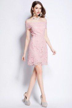 Pink Lace Off Shoulder Party Dress 69 Dk6162 Shepromcom