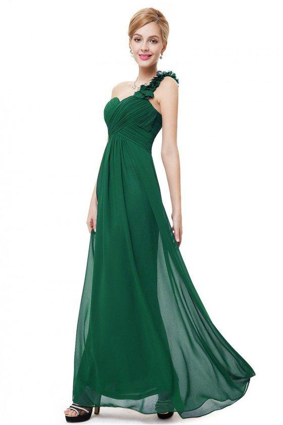 Dark Green Flowers One Shoulder Chiffon Padded Bridesmaid Dress - EP09768DG