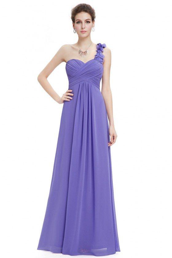 Purple Flowers One Shoulder Chiffon Padded Bridesmaid Dress - EP09768PW