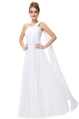 White A-line One Shoulder...