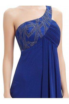 Royal Blue One Shoulder Open Back Prom Dress - EP09872SB