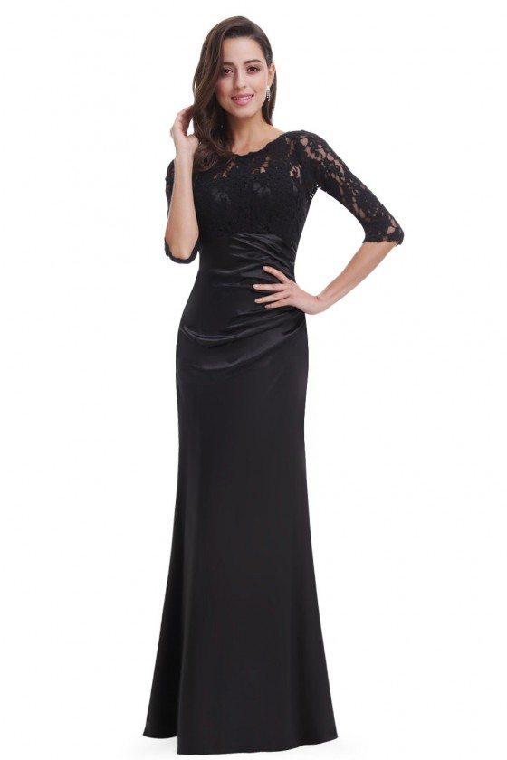 Black 3/4 Sheer Sleeves Lace Scalloped Neckline Long Formal Dress