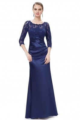 Navy Blue 3/4 Sheer Sleeves...