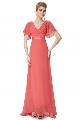 Coral Chiffon Double V-Neck...