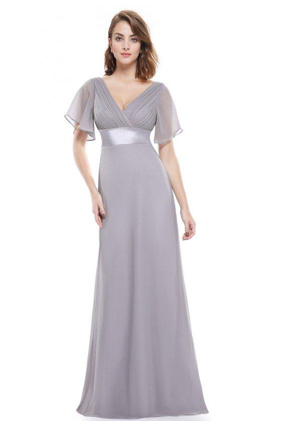 Grey Chiffon Double V-Neck Ruffles Padded Evening Dress