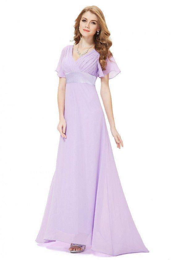 Lavender Chiffon Double V-Neck Ruffles Padded Evening Dress - EP09890LV
