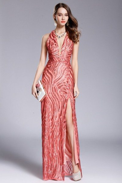 Deep V-neck Slit Long Halter Sequin Long Prom Dress