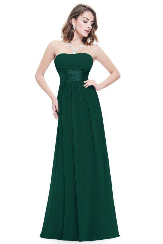 Strapless Ruched Bust Dark Green Chiffon Long Bridesmaid Dress