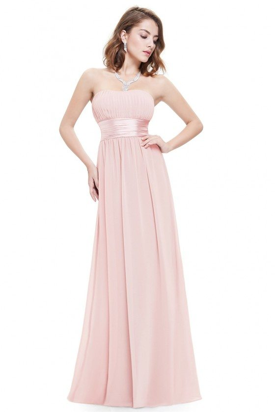 Strapless Ruched Bust Pink Chiffon Long Bridesmaid Dress - EP09955PK