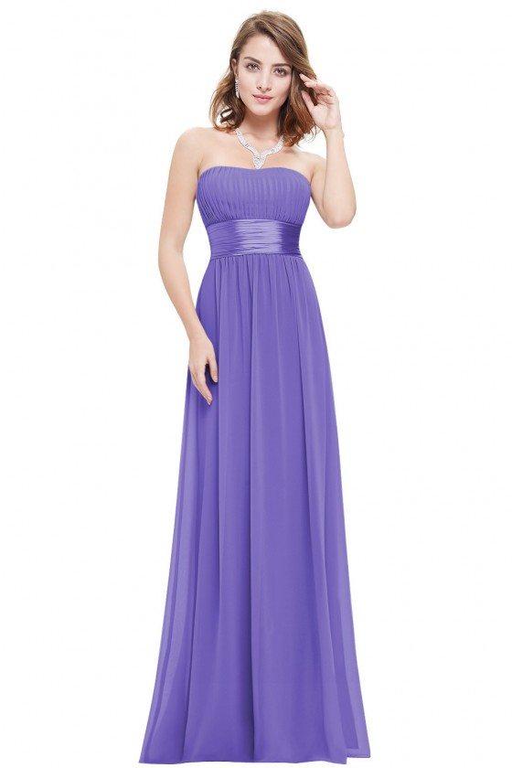 Strapless Ruched Bust Purple Chiffon Long Bridesmaid Dress