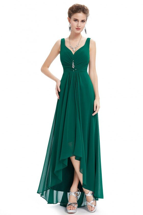 Dark Green Double V Neck Rhinestones Ruched Bust High Low Evening Dress
