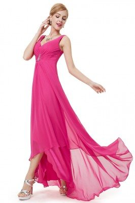 Hot Pink Double V Neck...