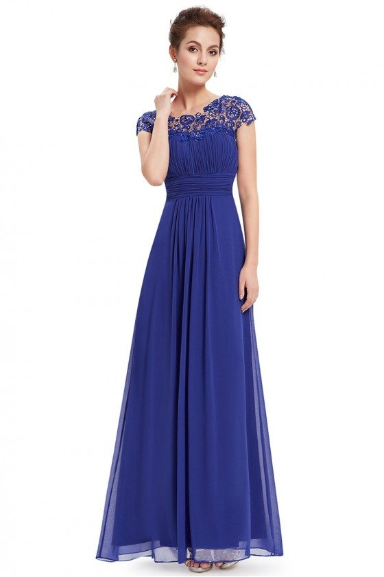 Royal Blue Lacey Neckline Open Back Ruched Bust Prom Dress - EP09993SB