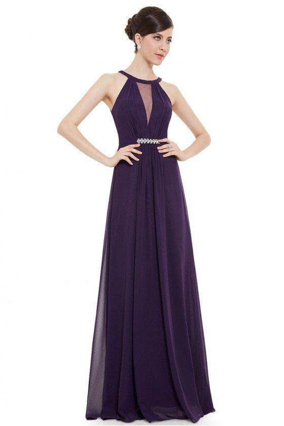 Dark Purple Sleeveless Rhinestone Ruched Waist Maxi Evening Dress