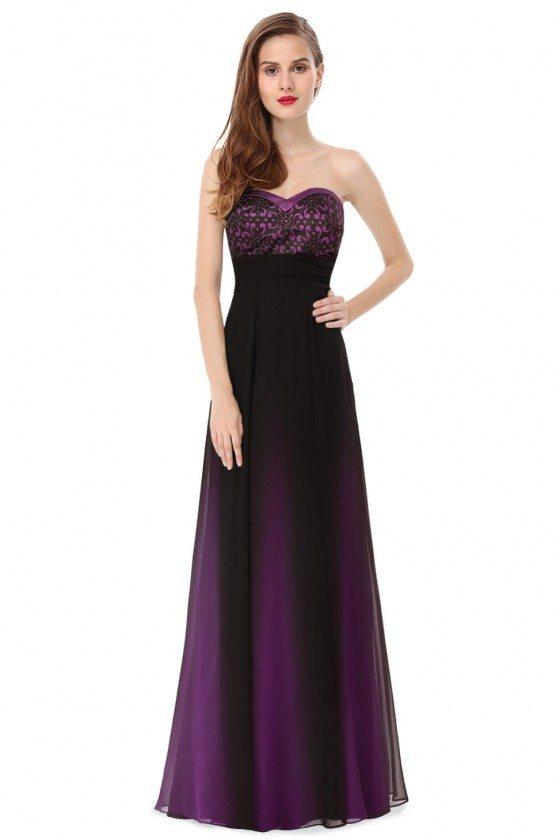 Mystical Purple Strapless Long Evening Dress